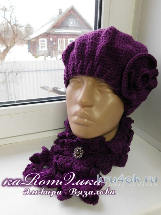 Beret and a Lacy scarf. Work кaRomЭлькa