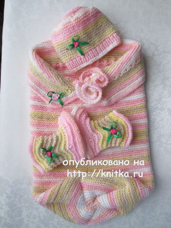 Cocoon, booties and cap for baby knitting. The Work Of Mary Gnedko