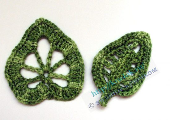 Crocheted leaves. Part 2