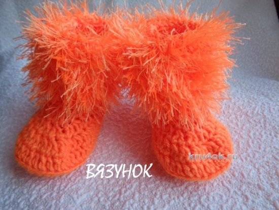 Knitted booties - monkey. A master class from Catherine Karabinos