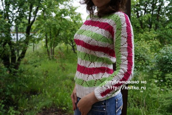 Knitted spring sweater. Work Mary
