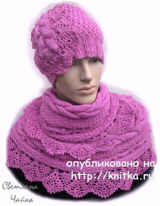 Ladies Cranberry. Hat and Snood knitting