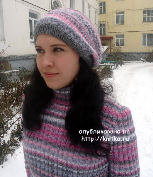 Pullover and beret knitting - work Lilies