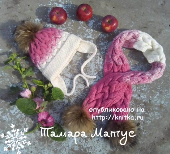 Scarf and hat for girl knitting. By Tamara Matus