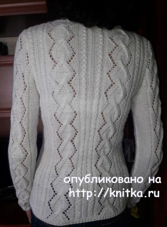 White pullover with a beautiful neckline. The Work Of Marina Efimenko